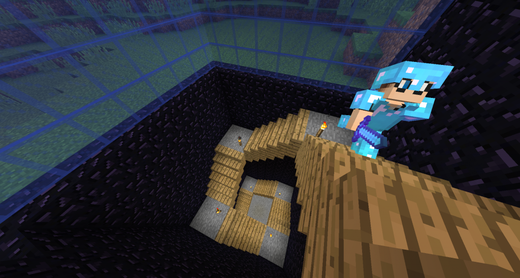 EasilyConfused carefully walks up into the obsidian hut. He is getting the hang of not falling down now.